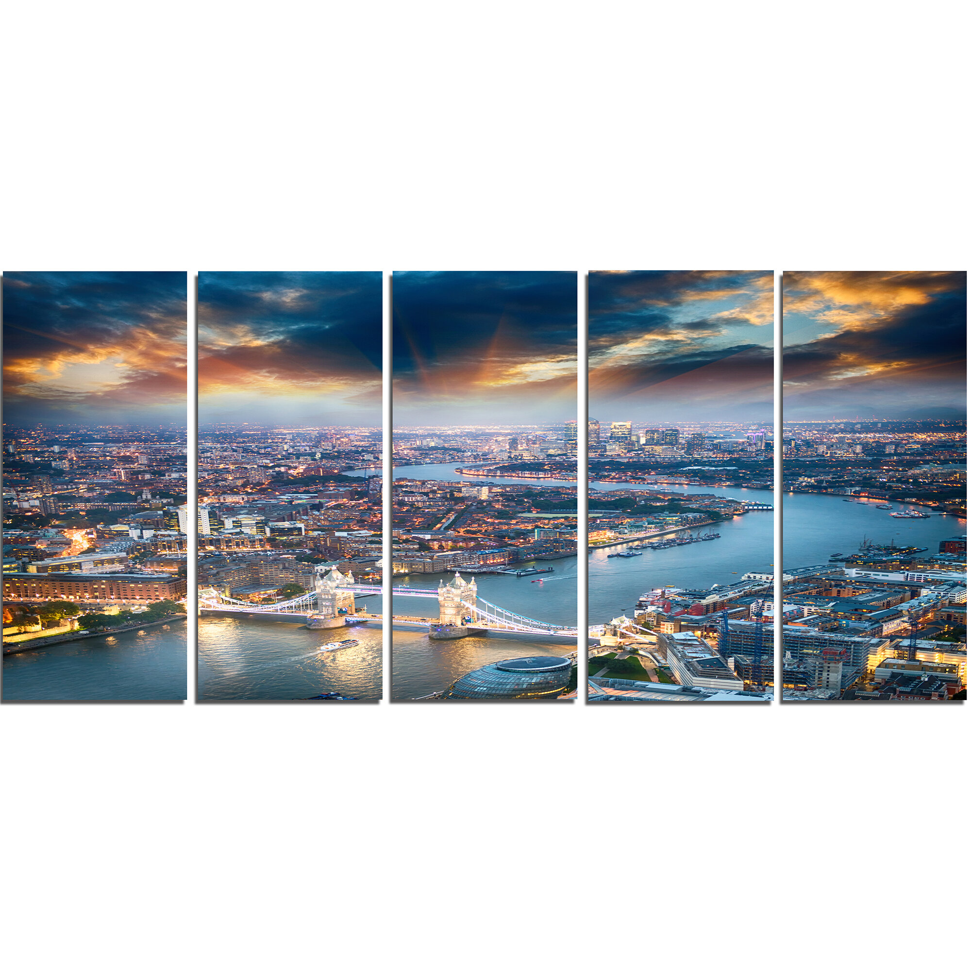 Designart Aerial View Of London At Dusk 5 Piece Photographic Print On Wrapped Canvas Set Wayfair