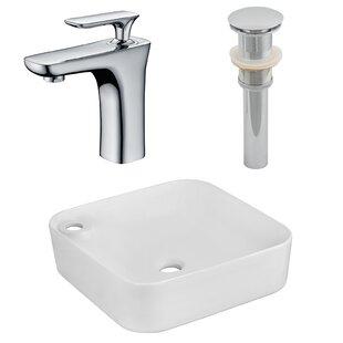 Best Ceramic Square Vessel Bathroom Sink with Faucet ByRoyal Purple Bath Kitchen
