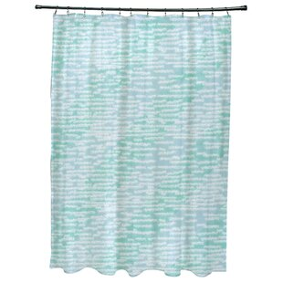 Highland Dunes Cedarville Marled Knit Stripe Geometric Print Shower Curtain