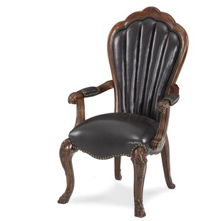 Michael Amini Palace Gates Arm Leather Upholstered Dining Chair