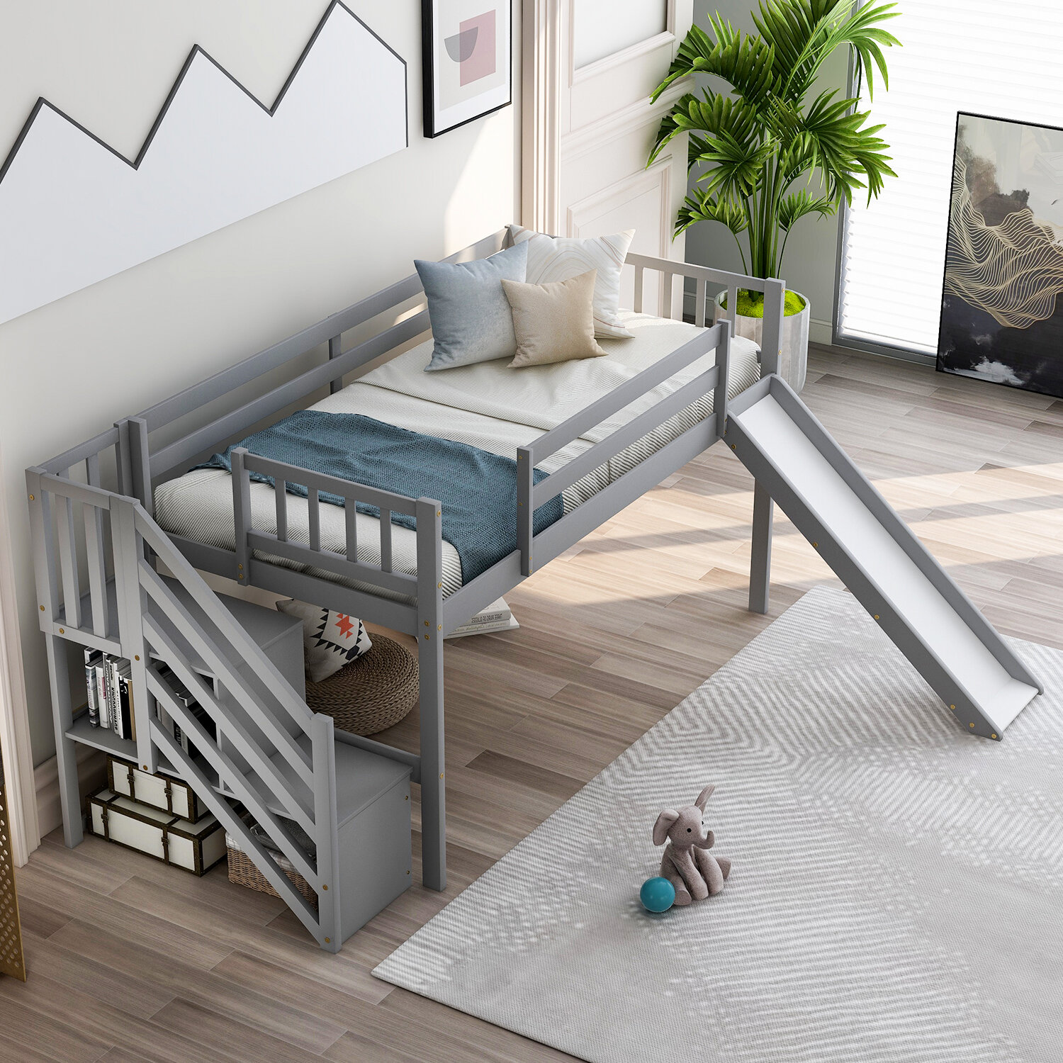 Isabelle Max Mitcheldean Twin Low Loft Bed With Shelves Wayfair