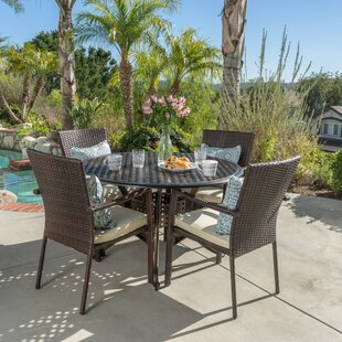 Hayden Outdoor 5 Piece Dining Set With Cushions by Bay Isle Home Find