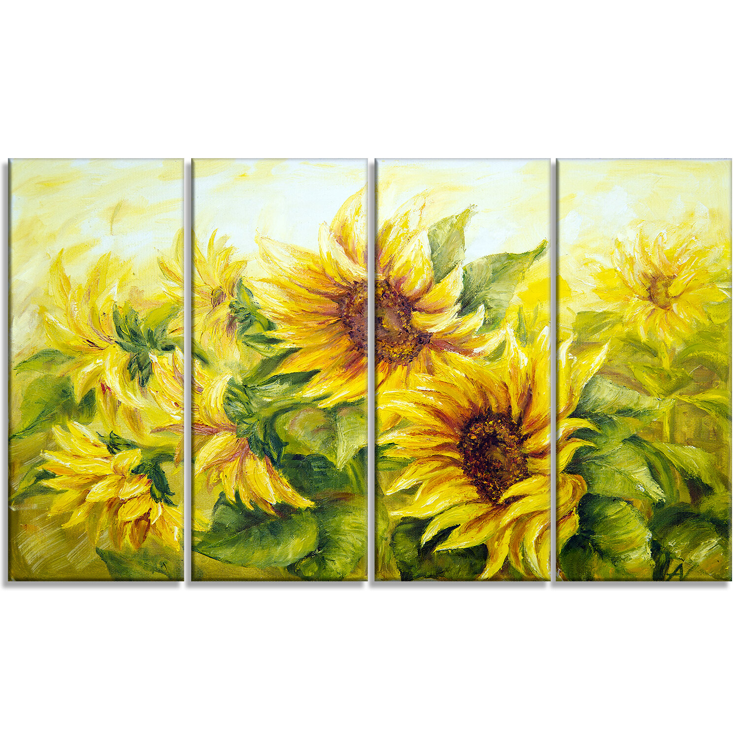 Bright yellow sunny sunflowers 4 piece painting print on wrapped canvas set