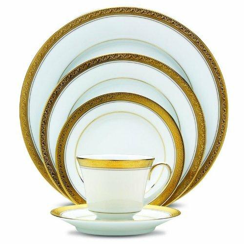 Crestwood Gold 20 Piece Dinnerware Set Service for 4  sc 1 st  Wayfair & Gold Trim Dinnerware | Wayfair