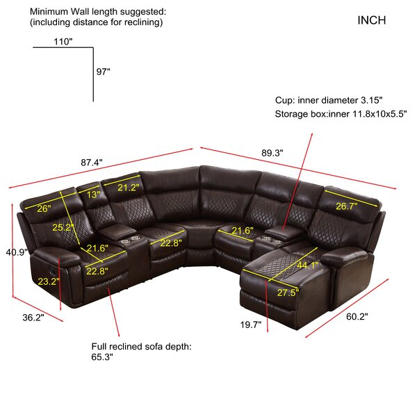 """Gibril 87.4"""" Wide Right Hand Facing Reclining Corner Sectional"""