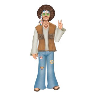 60's Jointed Male Hippie Stand-up By The Beistle Company