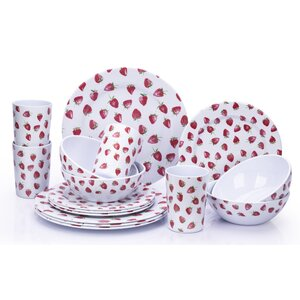 Melamine Strawberry 16 Piece Dinnerware Set