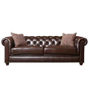 Lizzie Leather Chesterfield Sofa by Darby Home Co