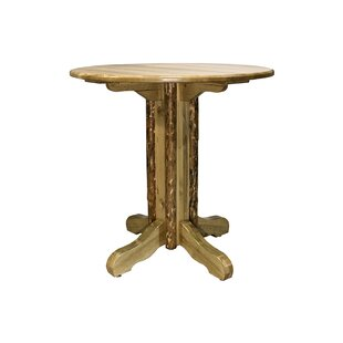 Tustin Center Pedestal Solid Wood Dining Table Loon Peak