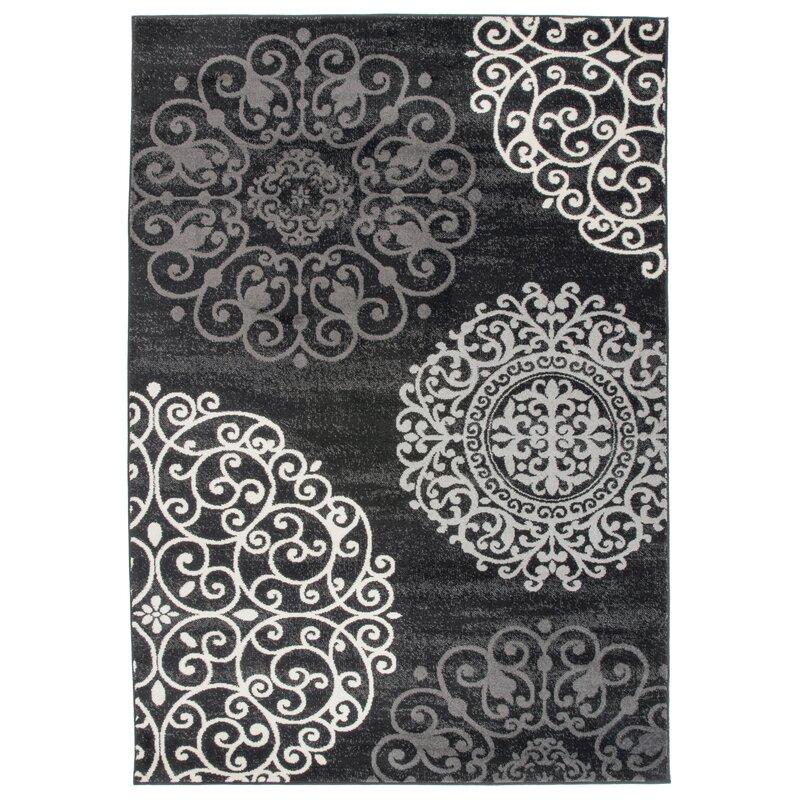 Ebern Designs Devonshire Geometric Black Area Rug Reviews Wayfair