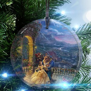 Disney Beauty and the Beast Dancing in the Moonlight StarFire Prints Glass Hanging Ornament