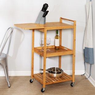 Enrique 38 Bamboo Kitchen Cart Rebrilliant