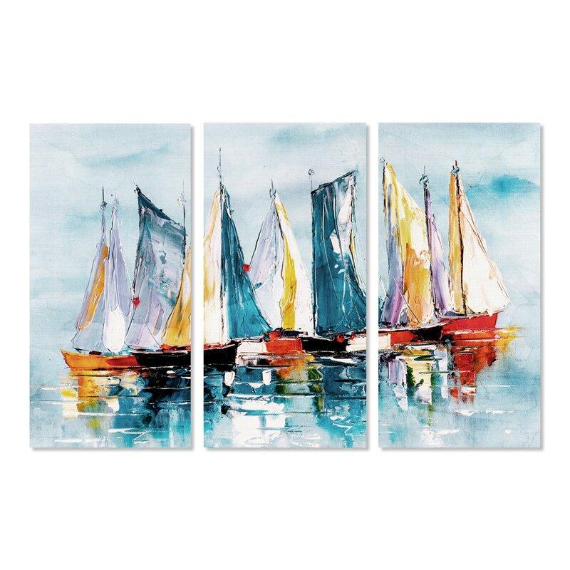 Breakwater Bay Beautiful Boat Day Triptych Graphic Art Print Multi Piece Image On Canvas Wayfair