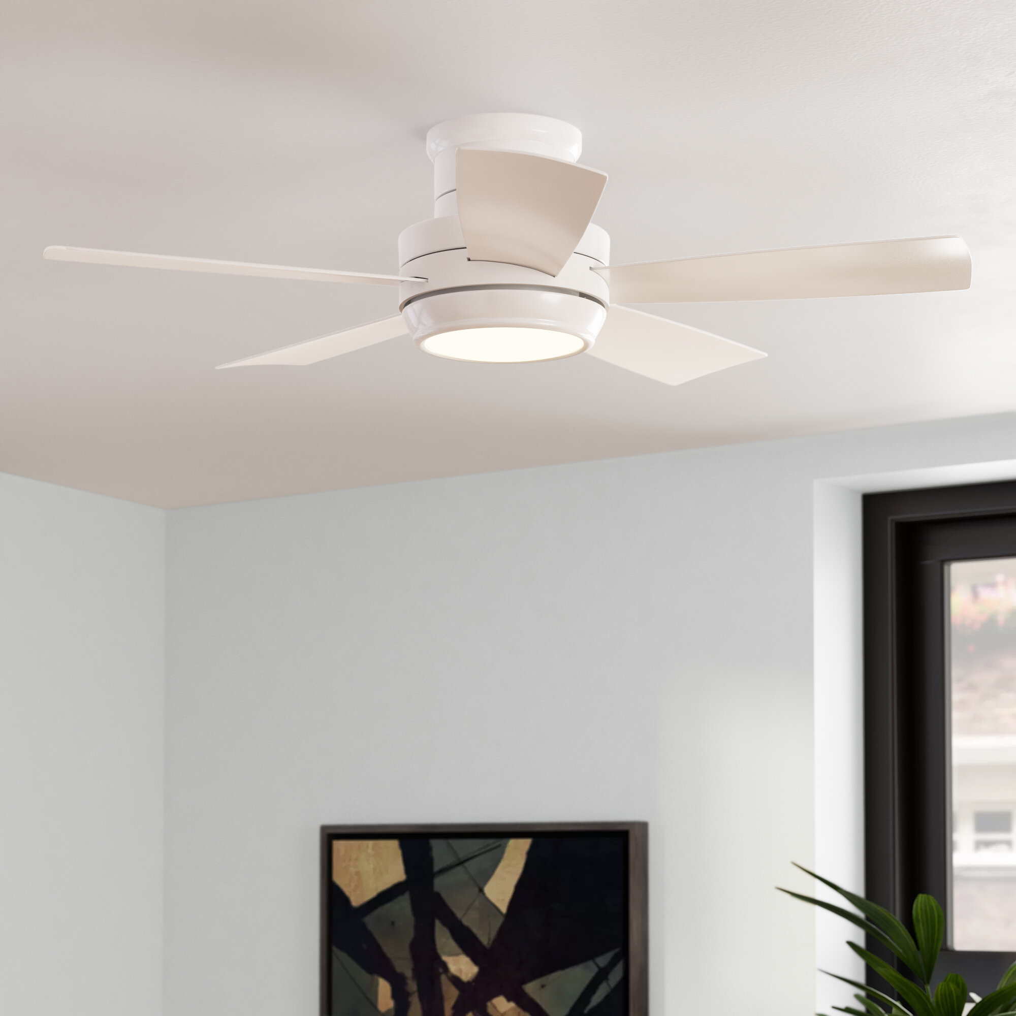 Latitude Run 44 Jaron 5 Blade Outdoor Led Standard Ceiling Fan With Remote Control And Light Kit Included Reviews Wayfair Ca