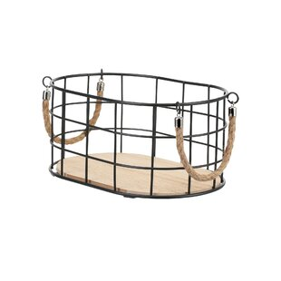Metal And Manufactured Wood Basket By Brambly Cottage