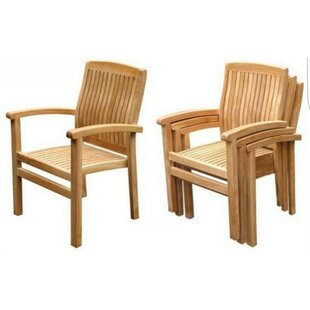 Kindel Stacking Teak Patio Dining Chair (Set of 4) by Bayou Breeze