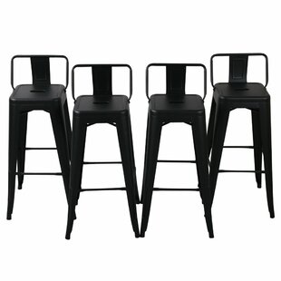 17 Stories Nathanial 30 Metal Bar Stools With Back (Set of 4)