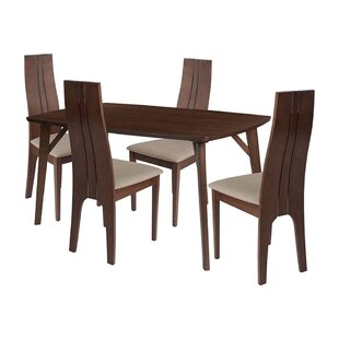 Una 5 Piece Solid Wood Dining Set by Ebern Designs