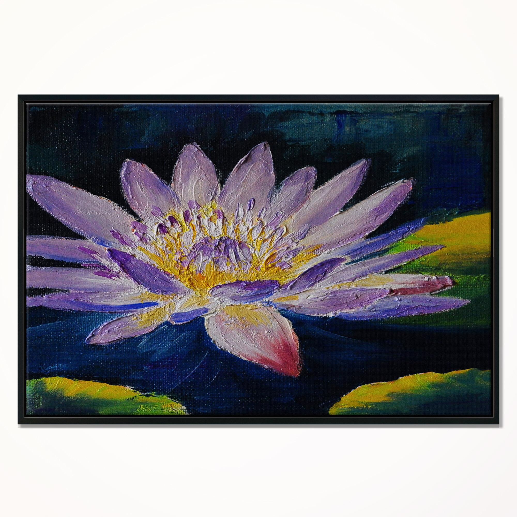 East Urban Home Purple Lotus Flower Framed Oil Painting Print On