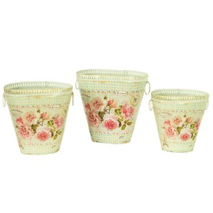 French Country Planters Vintage 3-Piece Metal Pot Planter Set  sc 1 st  Wayfair & French Country Flower Pots | Wayfair