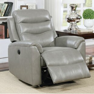Latitude Run Tincher Motion Genuine Leather Power Recliner