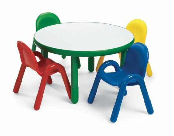 Angeles Round Baseline Preschool Table and Chair Set in Shamrock