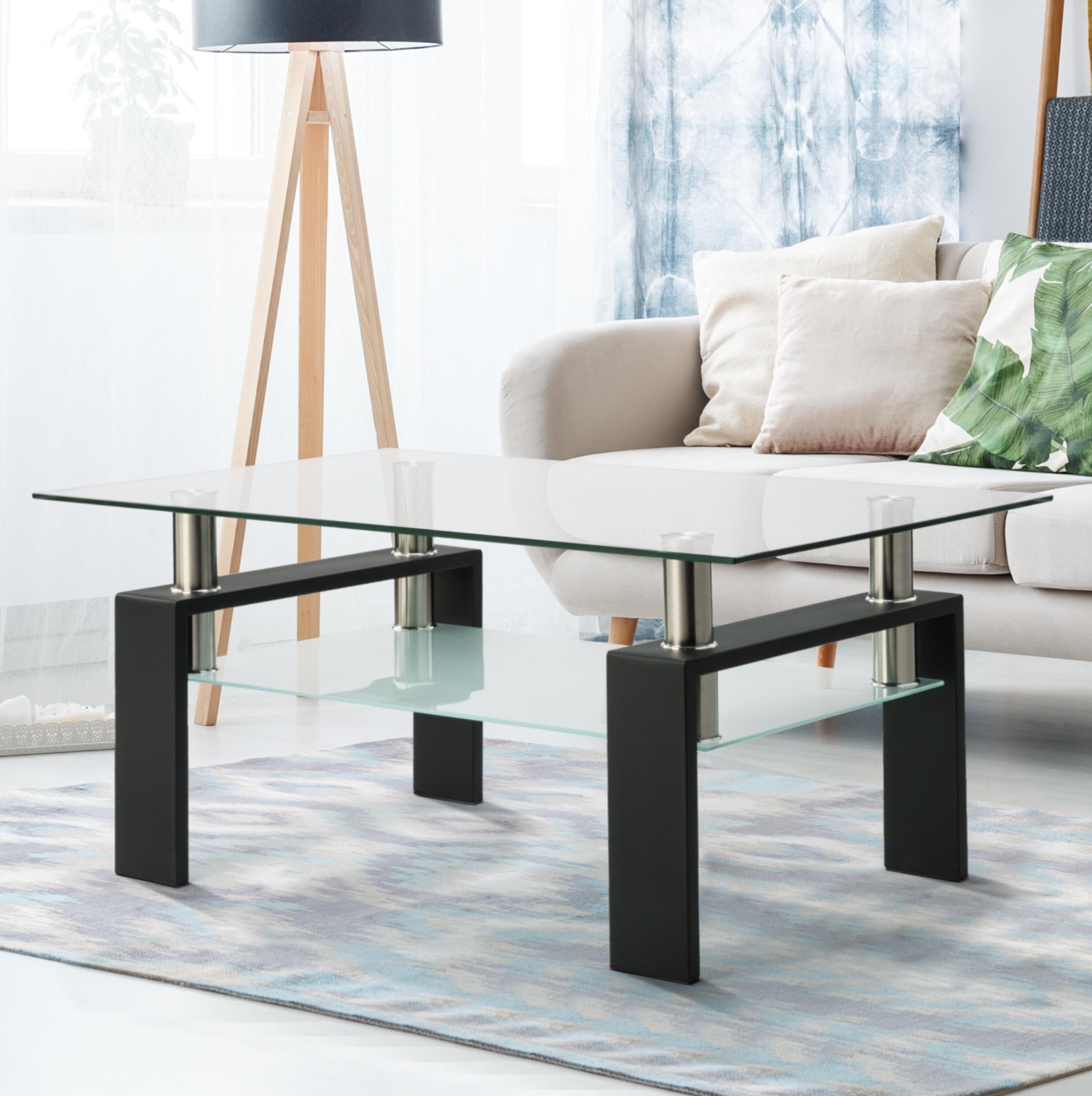 Latitude Run Rectangle Glass Coffee Table Clear Coffee Table Modern Side Centre Tables For Living Room Living Room Furniture