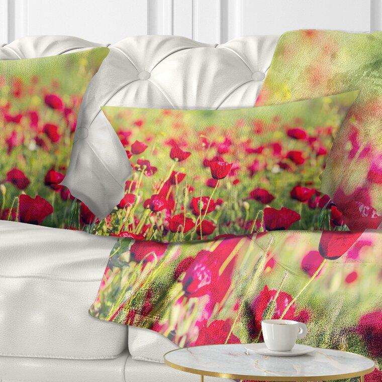East Urban Home Beautiful Poppy Flowers Background Lumbar Pillow Wayfair
