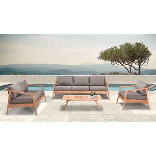 Hogue 4 Piece Teak Sofa Seating Group with Sunbrella Cushions