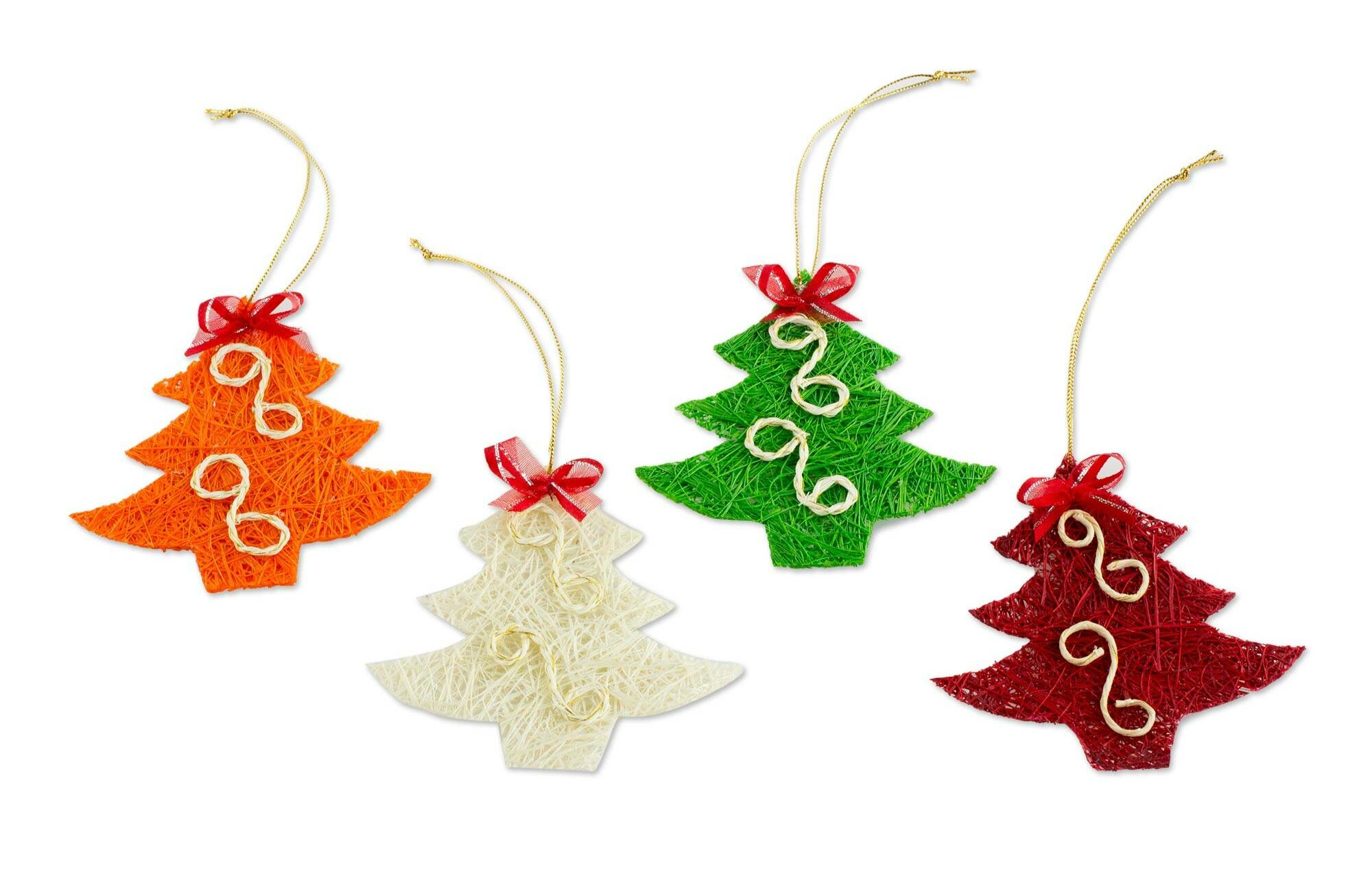 The Holiday Aisle Set Of 4 Merry Tree Christmas Holiday Shaped Ornament Wayfair