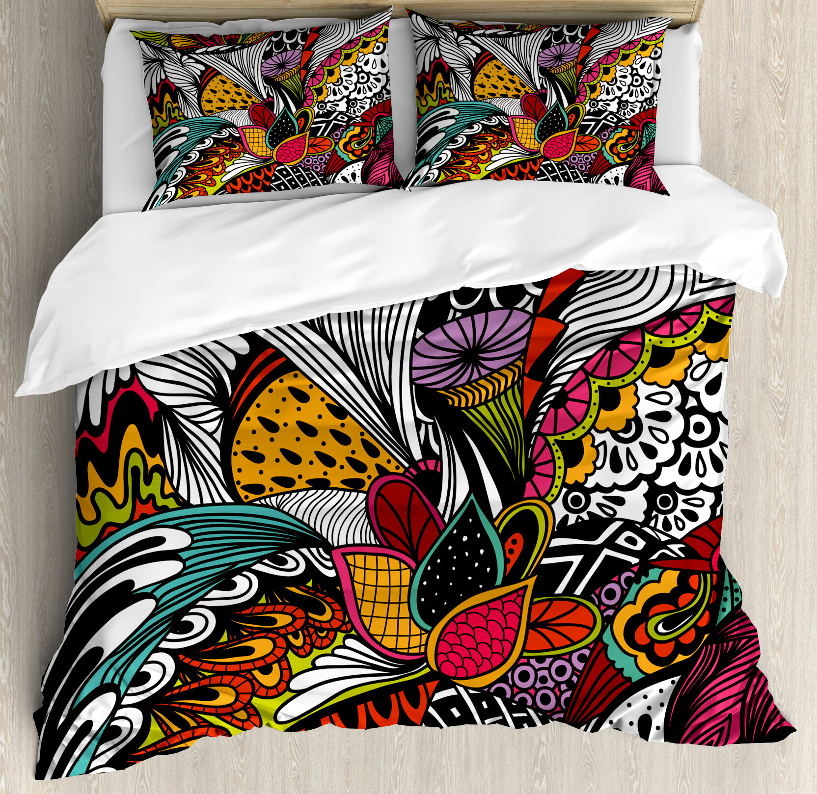 Garden Doodle Abstract Exotic Flowers Colourful Ornate Leaves Petals Festive Tropical Duvet Cover Set