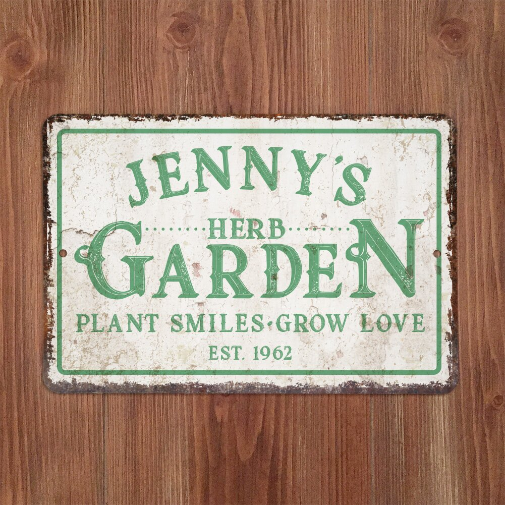 Personalized Distressed Vintage-Look Herb Garden Textual Art on Metal