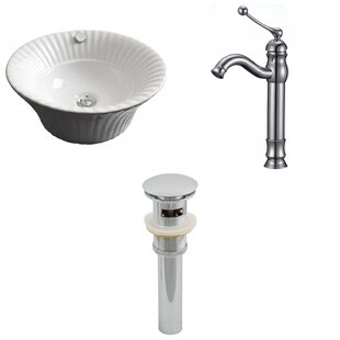Specialty Ceramic Circular Vessel Bathroom Sink with Faucet and Overflow By American Imaginations