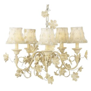 Jubilee Collection Leaf and Flower 5-Light Shaded Chandelier