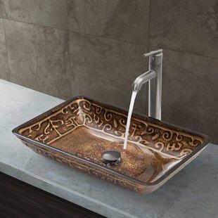 Best Greek Glass Rectangular Vessel Bathroom Sink with Faucet By VIGO