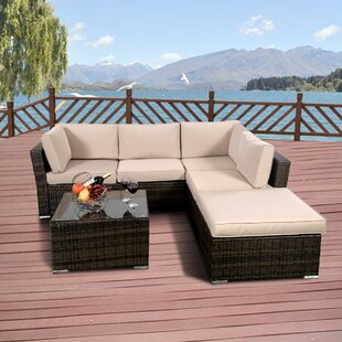 Kylee 4 Piece Rattan Sofa Seating Group with Cushions