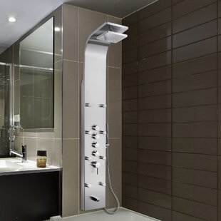 Rainfall Stainless Steel Volume Control Fixed Shower Head Panel with Handheld Wand