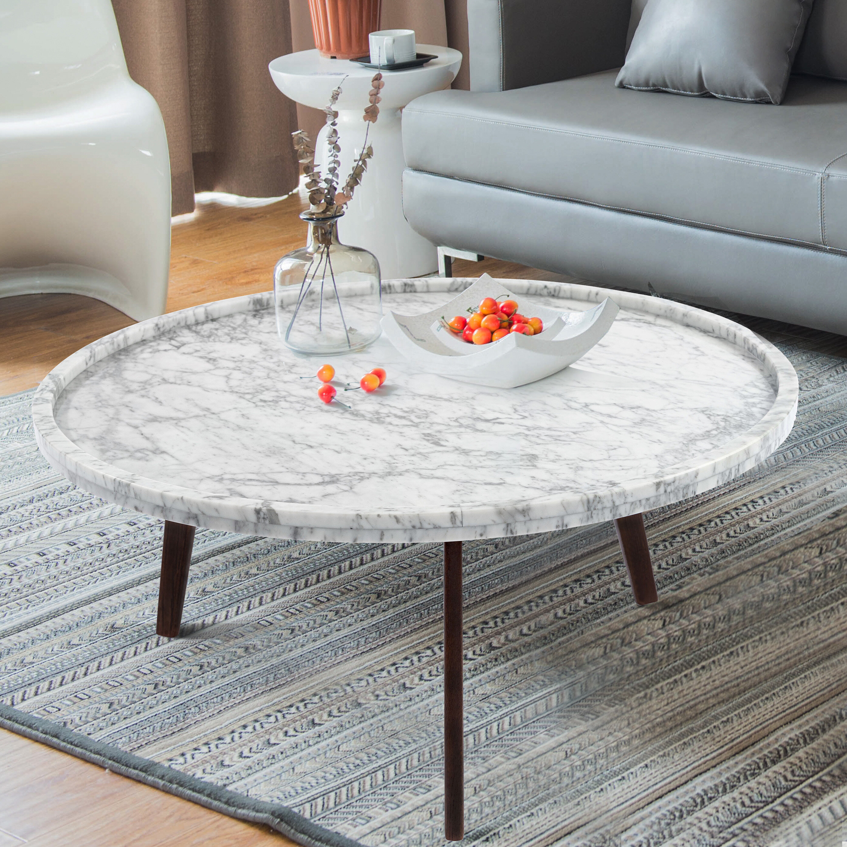 Ivy Bronx Griselda 31 Round Italian Carrara White Marble Coffee Table Reviews Wayfair