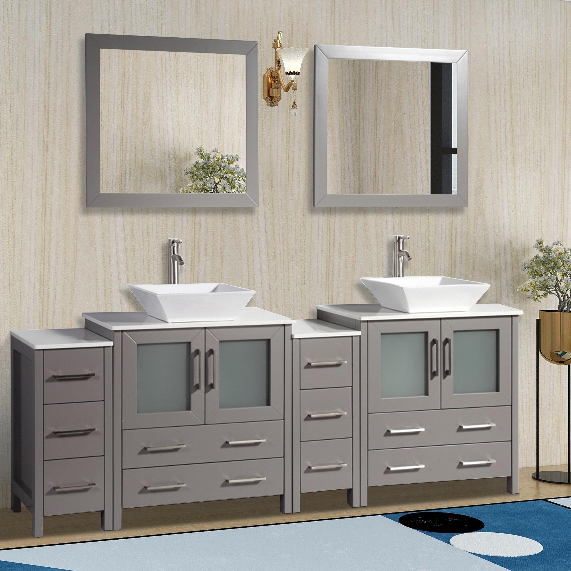Wade Logan Karson Modern 84 Double Bathroom Vanity Set With Mirror Reviews Wayfair