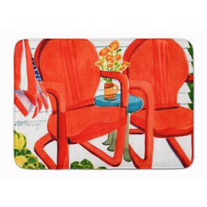 Red Chairs Patio View Memory Foam Bath Rug