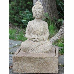 Northlight Seasonal Polystone Praying Buddha Outdoor Water Fountain with Light