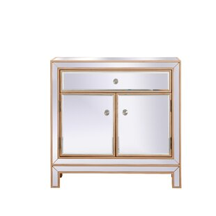 Aubrielle Mirrored 2 Door Accent Cabinet by House of Hampton