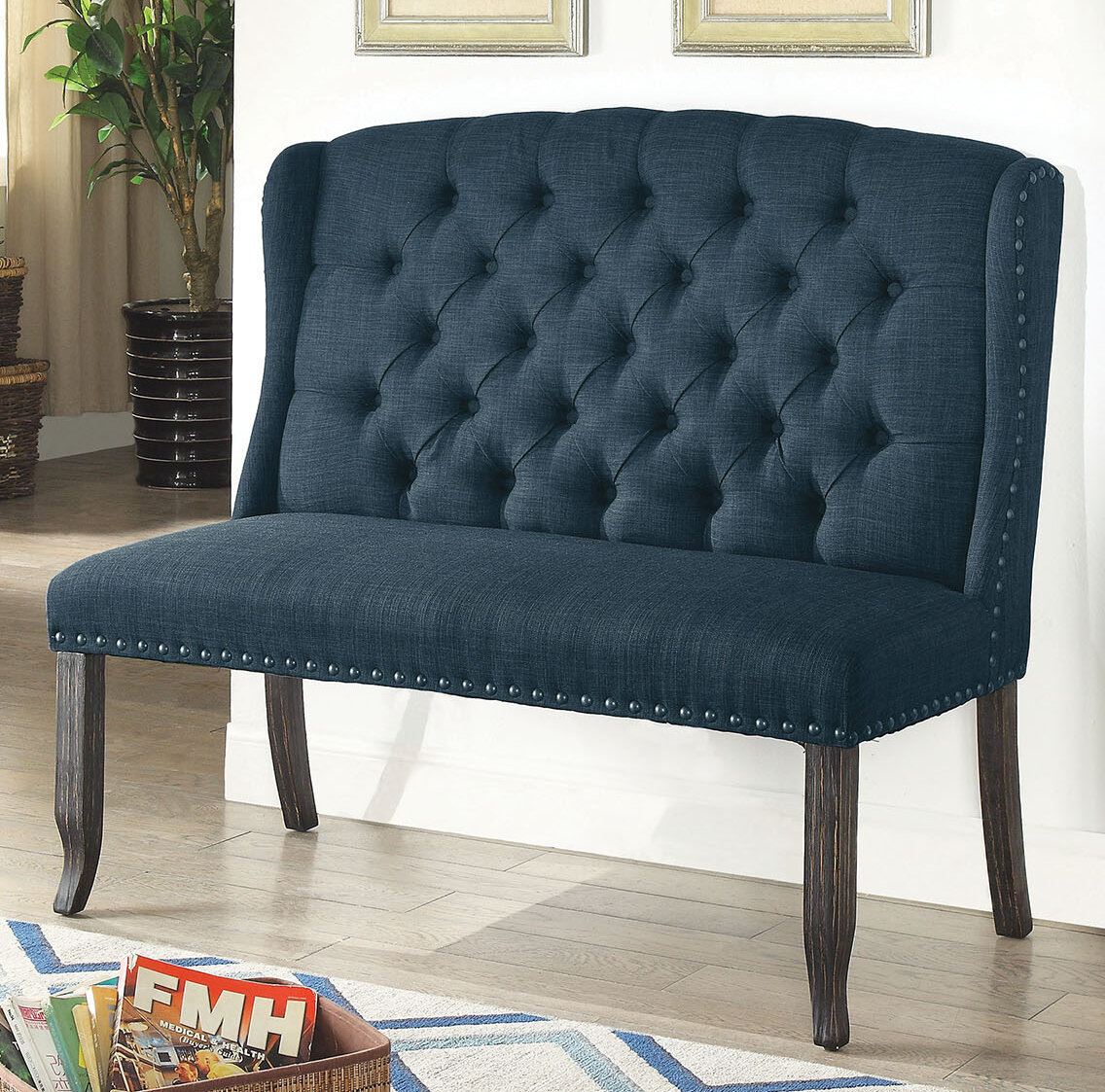 Groovy Meda Tufted High Back 2 Seater Love Seat Upholstered Bench Pabps2019 Chair Design Images Pabps2019Com