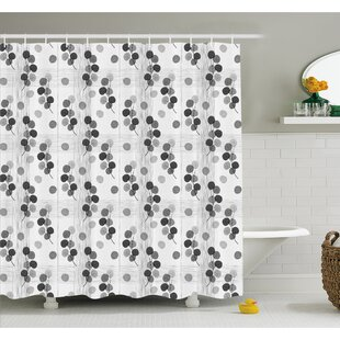 Artisan Circle Shaped Leaf Foliage Branches with Sketchy Lines Strips on Background Shower Curtain Set