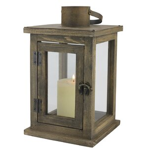 Rustic Retreat Wood/Glass Lantern