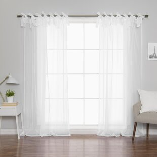 Roseline Voile Solid Sheer Tab Top Curtain Panels Set Of 2