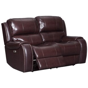 Oreana Leather Reclining Loveseat by Darby Home Co