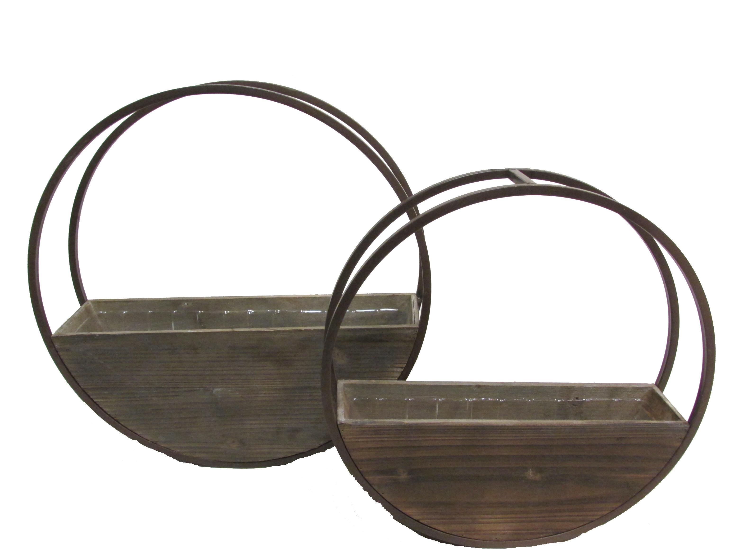 Union Rustic Aarush Round And Metal Framing Wall Hanging 2 Piece Wood Wall Planter Set Reviews Wayfair
