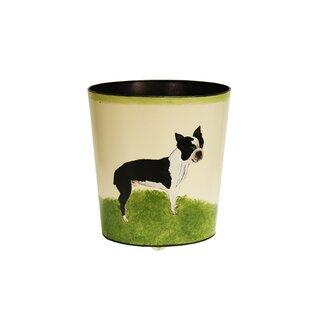 Worlds Away Boston Terrier Wastebasket