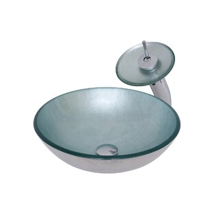 Great Price Argento Glass Circular Vessel Bathroom Sink with Faucet By Novatto